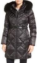 1 Madison Bib Inset Down Coat with Genuine Fox Fur Trim