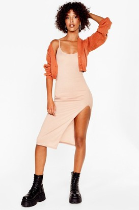 Nasty Gal Womens I Know the Scoop Ribbed Midi Dress - Sand