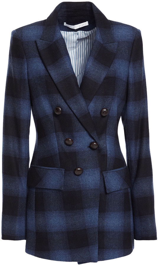Veronica Beard Button-embellished Checked Wool-blend Blazer