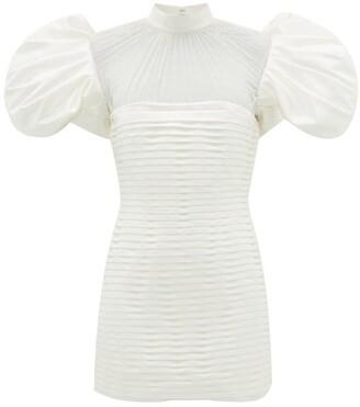 Richard Quinn Puff-sleeve Pleated Satin Mini Dress - Womens - Ivory