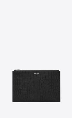 Saint Laurent Paris Zipped Mini Tablet Sleeve In Crocodile Embossed Leather Black Onesize