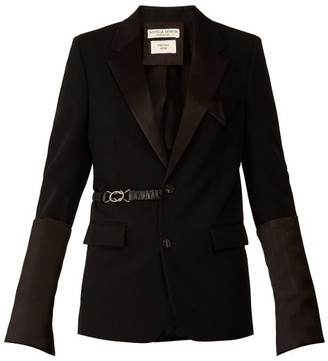 Bottega Veneta Satin Trim Belted Single Breasted Wool Blazer - Womens - Black