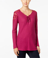 Style&Co. Style & Co. Lace-Trim Lace-Up Top, Only at Macy's