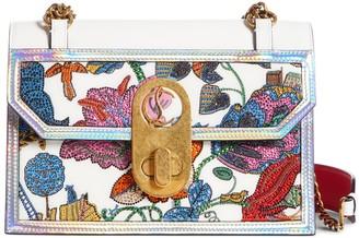 Christian Louboutin Small Elisa Botanique Embroidered Leather Shoulder Bag