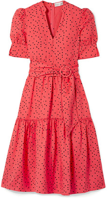 Rebecca Vallance Holliday Belted Polka-dot Linen-blend Midi Dress