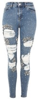 Topshop Limited Edition MOTO Mid Blue Super Rip Jeans