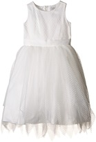 Us Angels Dot Netting Sleeveless Dress w/ Tiered Hanky Hem Skirt Girl's Dress