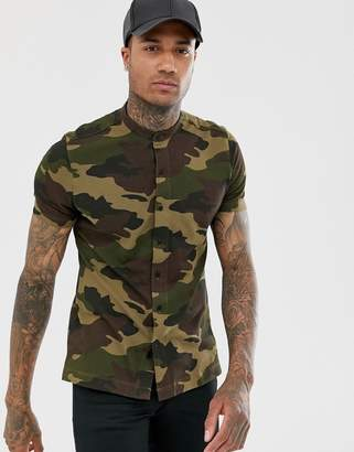 Bershka Join Life Organic Cotton short sleeved shirt with grandad collar in camo-Green