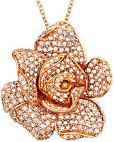 Effy Pavé Rose by Diamond Flower Pendant Necklace in 14k Rose Gold (1/3 ct. t.w.)