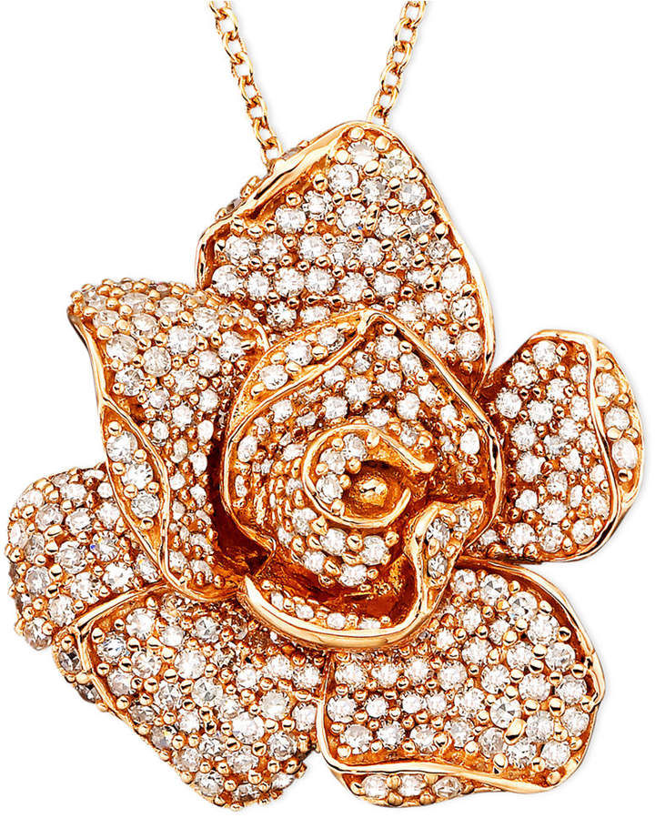 Effy Pave Rose by Diamond Flower Pendant Necklace in 14k Rose Gold (1 1/3 ct. t.w.)