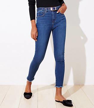 LOFT Belted High Waist Slim Pocket Skinny Jeans in Rich Mid Indigo Wash