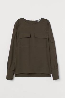 H&M Wool-blend Utility Blouse - Green