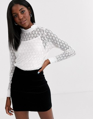 Pimkie stretch lace top in white