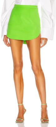 ATTICO Rounded Hem Mini Skirt in Green | FWRD