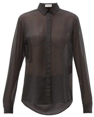 Saint Laurent Polka-dot Silk-georgette Shirt - Womens - Black White