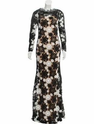 Naeem Khan Guipure Lace Evening Dress Black