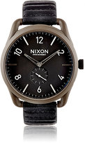 Nixon Men's C45 Leather Watch-BLACK