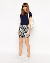 Le Mont St Michel Silk Mix Shorts In Tree Print