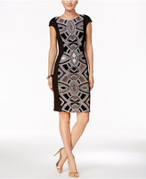 Jax Glitter-Panel Sheath Dress