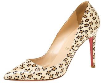 Christian Louboutin Cream/Black Cheetah Print Snakeskin So Kate Pointed Toe Pumps Size 38.5
