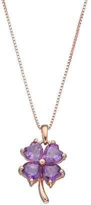14k Rose Gold Over Silver Amethyst Four-Leaf Clover Pendant Necklace