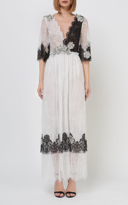 Costarellos Mardenne Chantilly-Lace Two-Tone Dress
