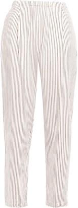Raquel Allegra Striped Cotton Tapered Pants