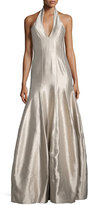 Halston Faille Halter Tulip Gown, Platinum