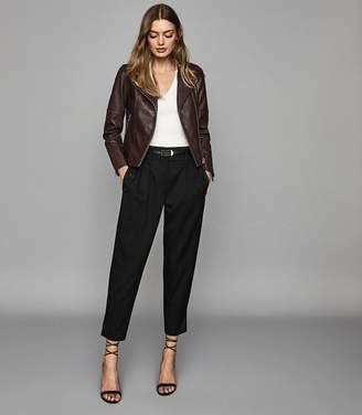 Reiss TALLIS LEATHER BIKER JACKET Plum