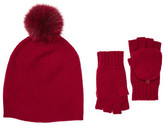 Sofia Cashmere Genuine Fox Fur Pompom Hat and Pop-Top Fingerless Gloves