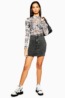 Topshop Black Acid Wash Denim Joni Skirt