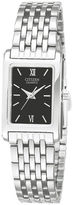 JCPenney Citizen Quartz Citizen Womens Rectangular Black Dial Stainless Steel Bracelet Watch EJ5850-57E
