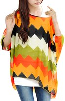 Allegra K Ladies Batwing Sleeve Zigzag Pattern Oversize Shirt S