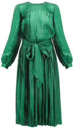 Marc Jacobs Pleated Silk-blend Lame Dress - Womens - Green