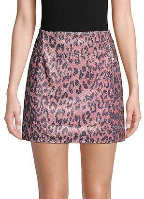 Free People Cheetah-Print Sequin Mini Skirt