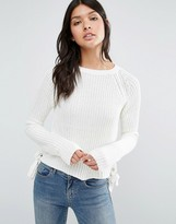Brave Soul Tie Side Cropped Sweater