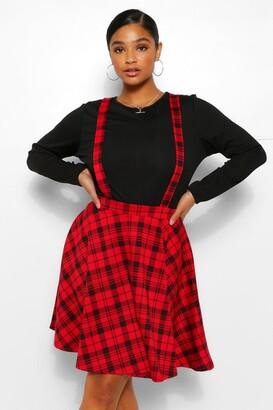 boohoo Plus Check Pinafore Skirt