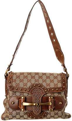 Gucci Brown Gg Canvas & Leather Shoulder Bag