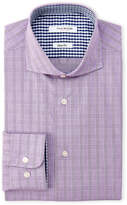 Isaac Mizrahi Grape & Navy Check Slim Fit Dress Shirt
