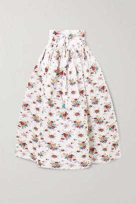Horror Vacui Toga Belted Pintucked Floral-print Cotton-voile Midi Skirt - Ivory