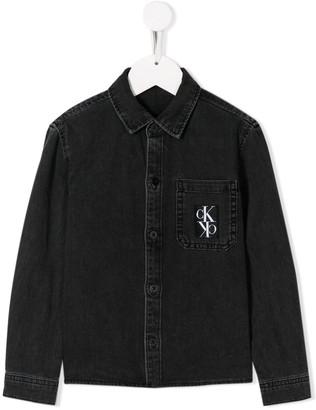 Calvin Klein Kids logo printed denim shirt