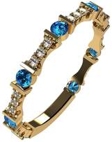 Nana Silver Stackable Ring Round Cut Yellow Gold Plated - Size 8 - Simulated Blue Zircon - Dec. Birthstone