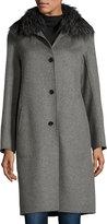 Neiman Marcus Cashmere Coat with Detachable Fur Collar