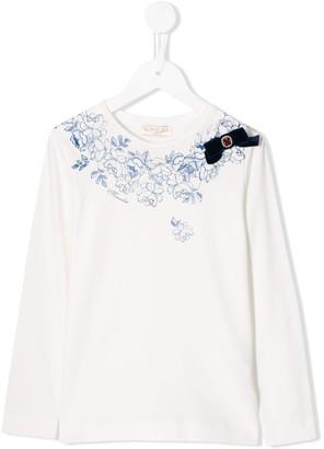 MonnaLisa floral print long-sleeved T-shirt