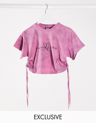 Reclaimed Vintage inspired crop t-shirt with lace up sides in tie dye