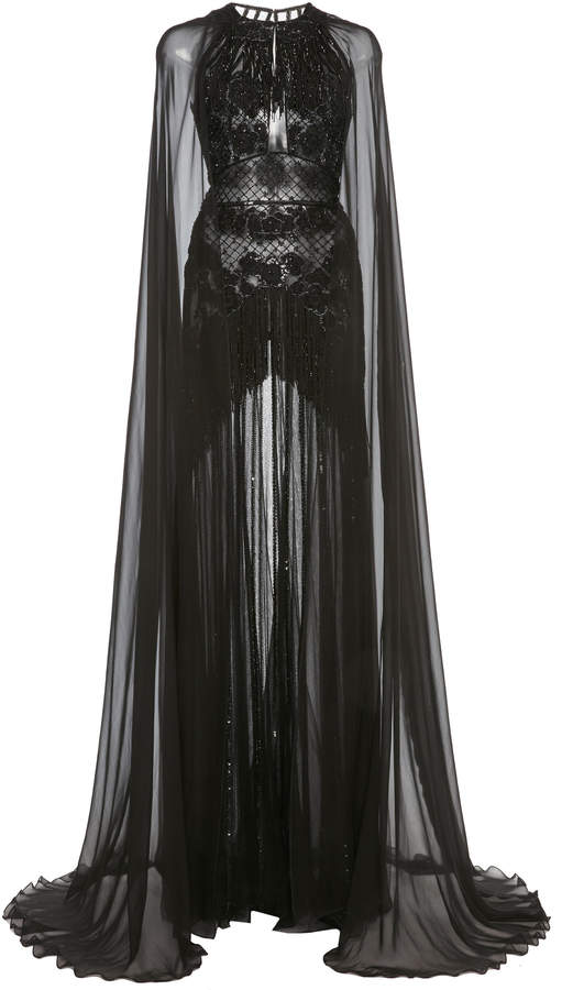 Zuhair Murad Embellished Cape-Sleeve Silk-Chiffon Gown Size: 38