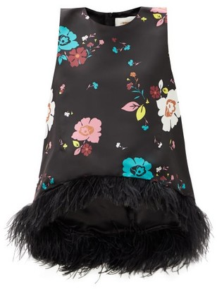 La DoubleJ La Scala Floral-print Feather-trimmed Silk Top - Black Multi