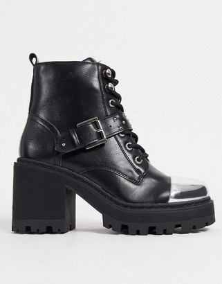 Truffle Collection toe cap chunky lace up boots in black