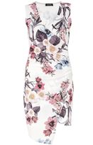 Quiz Cream Wrap Front Floral Print Dress