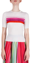 Mary Katrantzou Short-Sleeve Striped T-Shirt, Pink